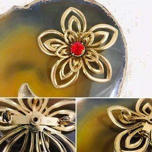 Vintage Coro Goldtone Flower Red Jewel Brooch